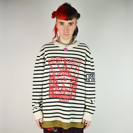 Black White Striped Knit Jumper