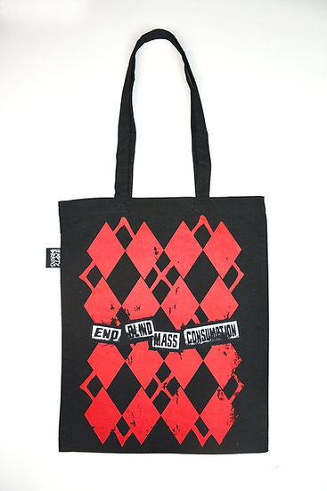 Red Argyle Print Protest Tote
