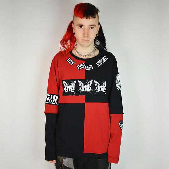 Harlequin Red Black Long Sleeve