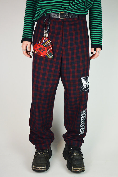 Patched Red Plaid Trousers