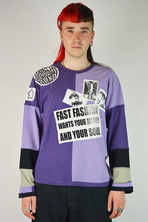 Purple Split Patchwork Long sleeve