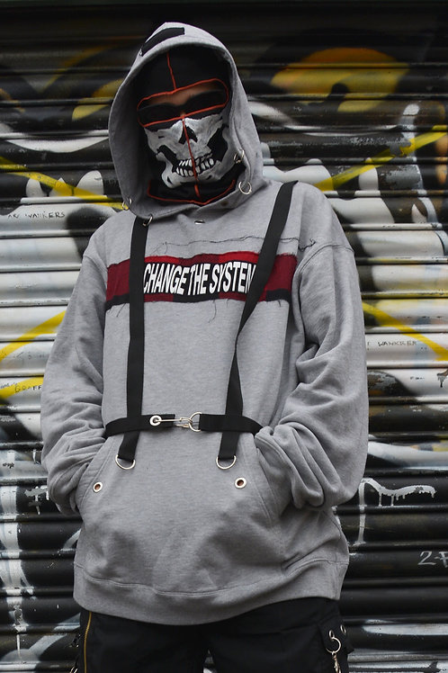 GREY CHANGE THE SYSTEM HARNESS HOODIE