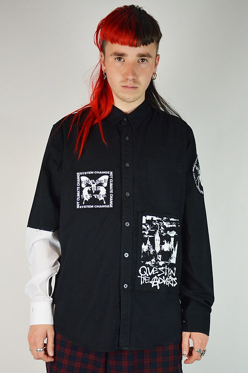 Black Patched Button Up Shirt