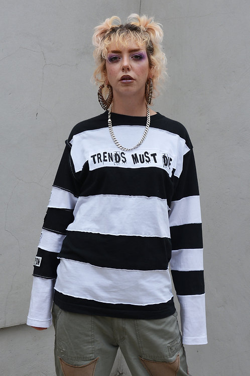 Black White Patch Striped Longsleeve
