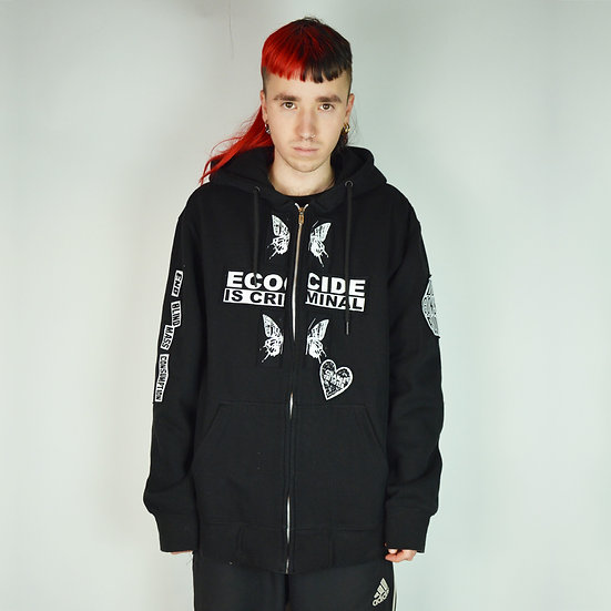 Butterfly Patch Black Zip Up Hoodie