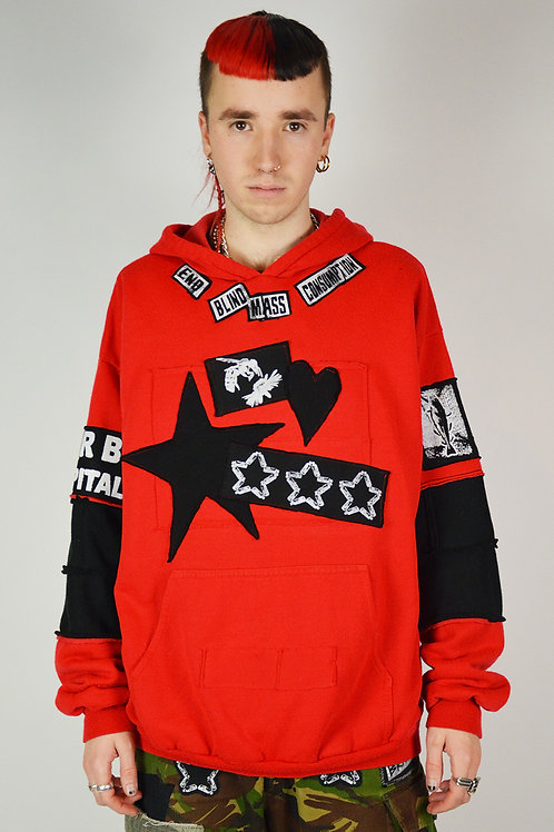 Red Patched Protest Hoodie