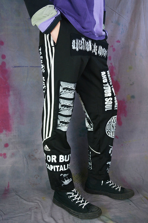 Black Patched Protest Joggers