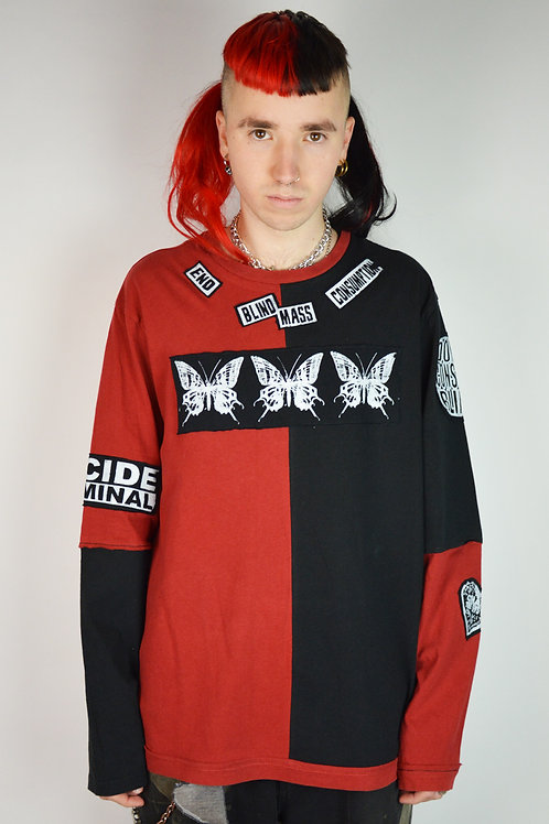 Red Black Patchwork Long Sleeve