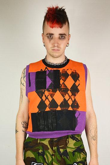 Orange Patch Work Sweater Vest