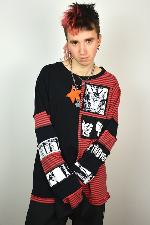 Red Print Split Patchwork Long sleeve