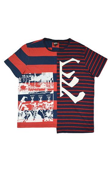 Black Star Striped Split T Shirt