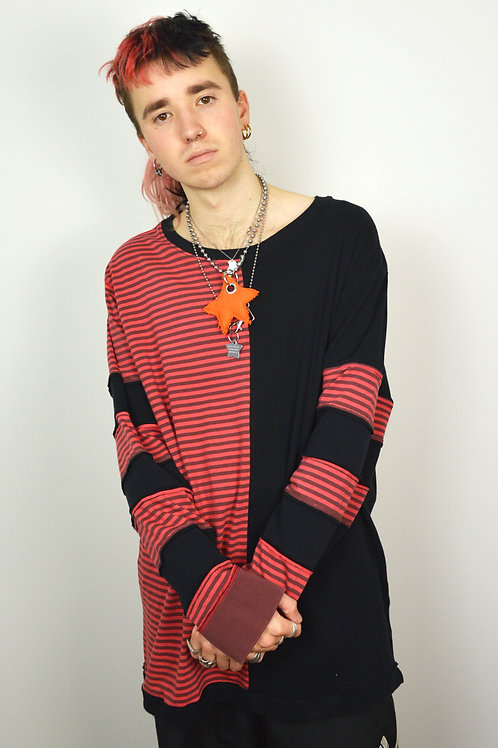 Red Split Patchwork Long sleeve