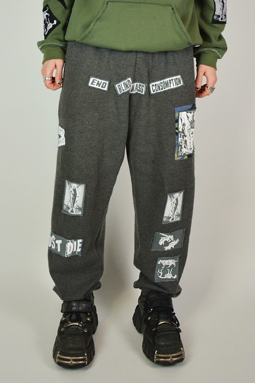 Grey Patched Protest Joggers