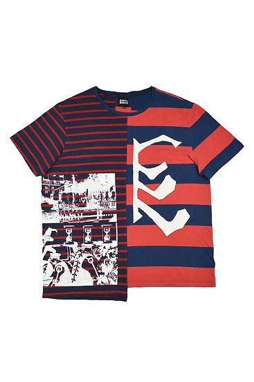 Rib Cage Striped Split T Shirt