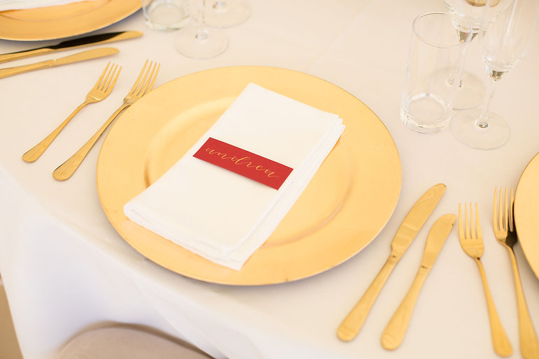 Red and gold wedding place card