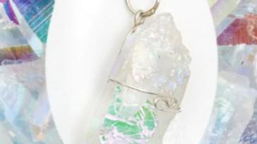 Angel Aura Quartz Pendant with Chain