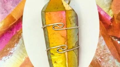 Golden Aura Quartz Pendant with Chain