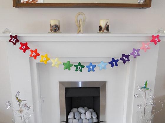 Happy Birthday Rainbow Stars Garland