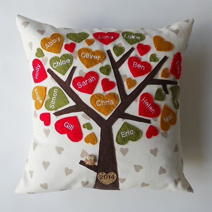 Family Tree Cushion Cover - Bright Autumn