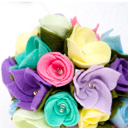 Felt Flower Fairy Lights - Pastel