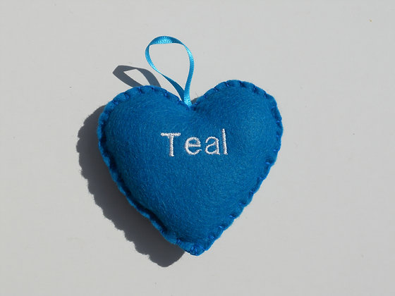 Teal Hanging Hearts