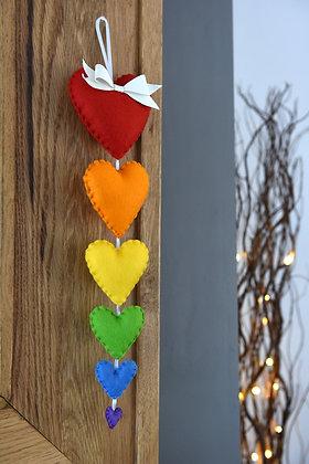 Rainbow Heart Cascade Garland