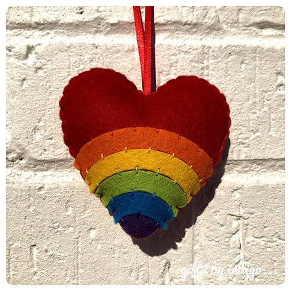 Rainbow Heart Feltie Decoration