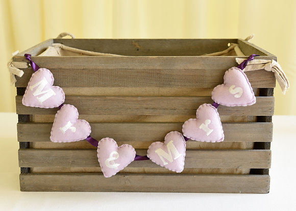 Embroidered Felt Heart Garland