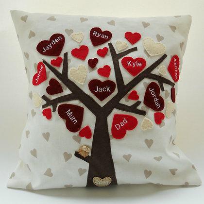 Family Tree Cushion Cover - Crimson Bloom