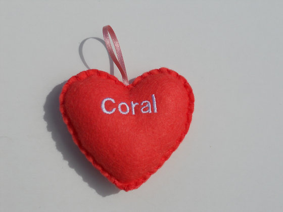 Coral Hanging Hearts