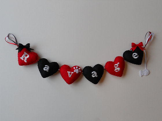 Red and Black Heart Garland