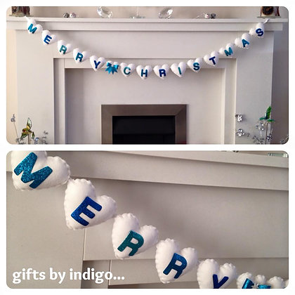 Merry Christmas Garland - Icy Blue