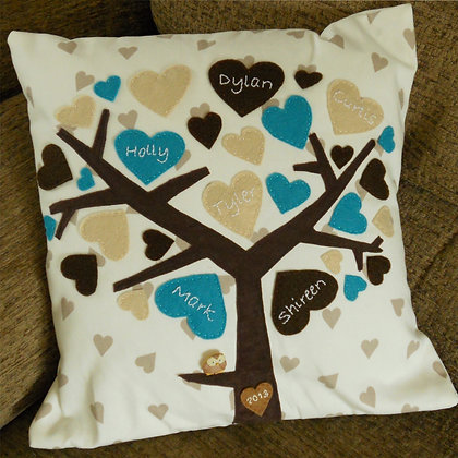 Family Tree Cushion Cover - Turquoise Dream
