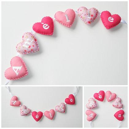 Pink Roses Heart Garland
