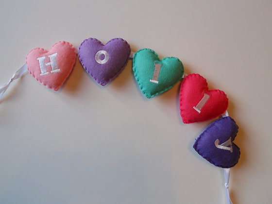 Aqua Pink Heart Garland