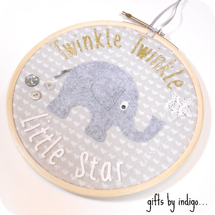 Twinkle Twinkle Little Star Elephant Hoop Art