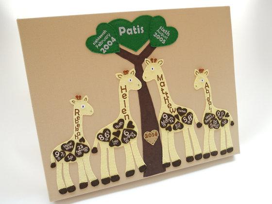 Birth Detail Giraffe Canvas