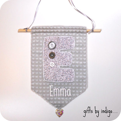 Silver Glitter Initial Flag