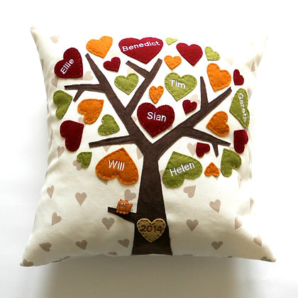 Family Tree Cushion Cover - Autumn Leaves