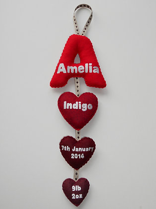 Red Initial Birth Detail Garland