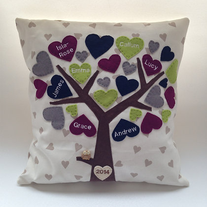 Family Tree Cushion Cover - Blackberry Crush