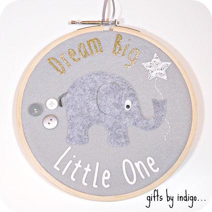 Dream Big Little One Elephant Hoop Art