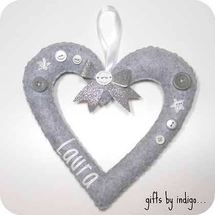 Personalised Felt Hollow Heart