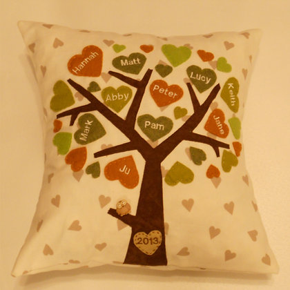 Family Tree Cushion Cover - Amber Leaves