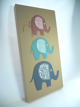 Birth Detail Elephant Canvas