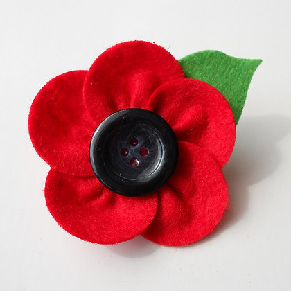 Poppy Flower Brooch with Leaf