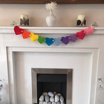 Rainbow Heart and Button Garland