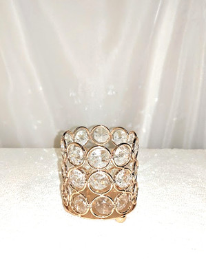 "3"" Gold Crystal Bead Crystal Bead Votive Holder"