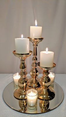 Gold Metal Candle Holder Trio