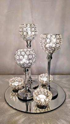 6 pc Crystal Bling Candle Holder Set